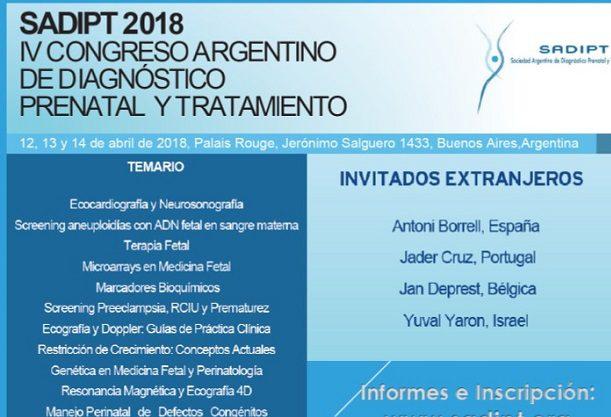 12 al 14 de Abril – 4º Congreso Argentino de diagnóstico prenatal y tratamiento (SADIPT) – Palais Rouge – Buenos Aires