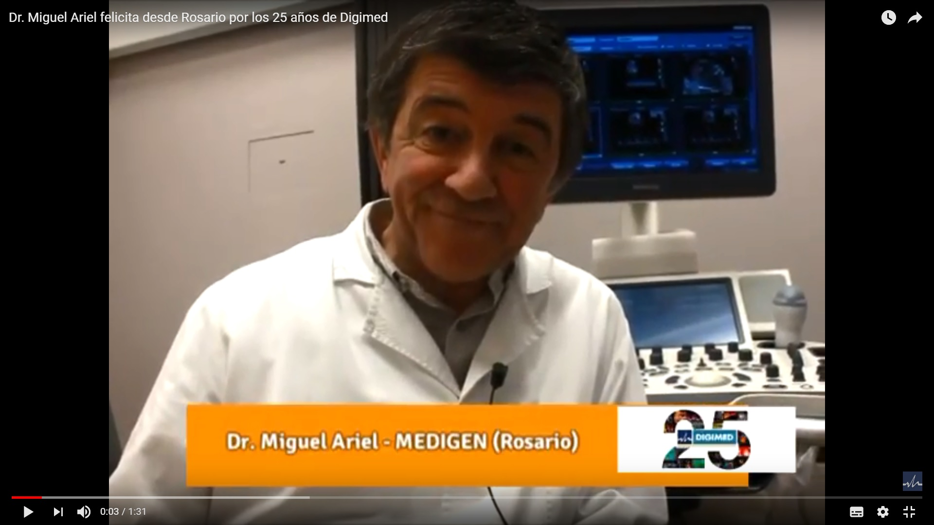 Dr. Miguel Ariel felicita desde Rosario por los 25 años de Digimed