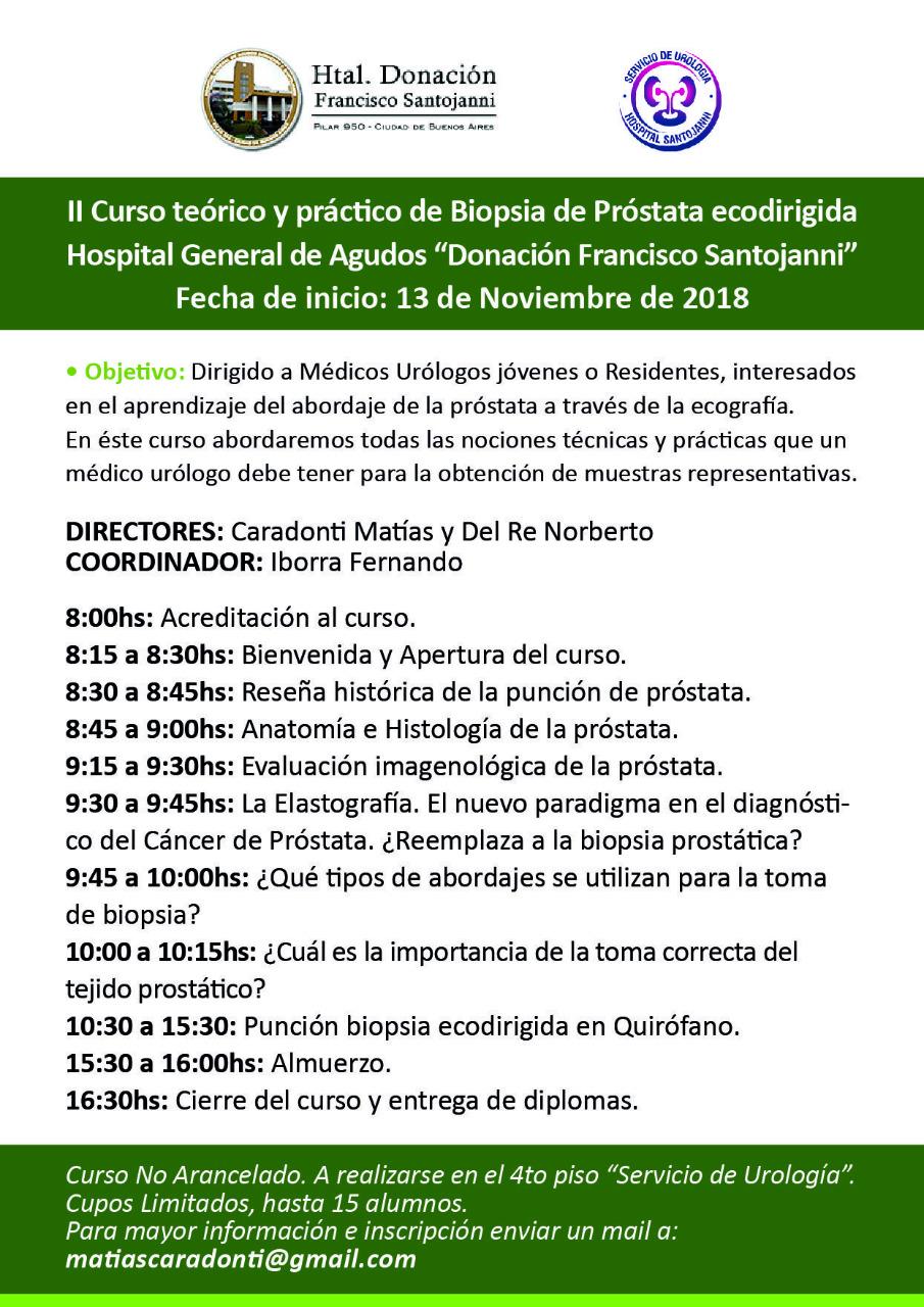 """II Curso Teórico Práctico de Biopsia de Próstata ecodirigida Hospital """"Donación Francisco Santojanni"""" 13 de Noviembre – Buenos Aires"""