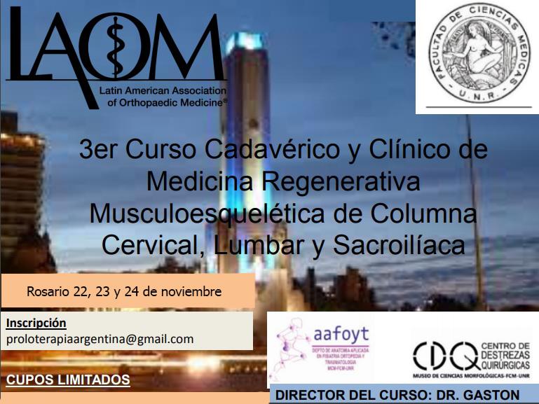 3do Curso Cadavérico y Clínico de Medicina Regenerativa Musculoesquelética de Columna Cervical, Lumbar y Sacroilíaca – 22, 23 y 24 de noviembre – Rosario – UNR